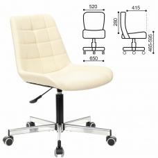 Кресло BRABIX Deco MG-316, без подлокотников, пятилучие серебристое, экокожа, слоновая кость, 532081